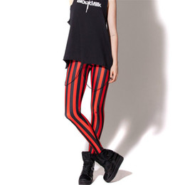 Venta al por mayor de la ropa del punk rock online-Al por mayor-Legging de la raya vertical 3d Impreso Mujeres Negro Punk Rock Estilo Sexy Leggings Out Door Moda Nueva Ropa Lady Costumn