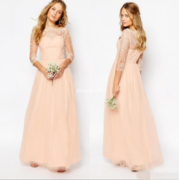 Wholesale Peach Long Wedding Dresses - Peach Pink Lace Formal Dresses Bateau Neck Sleeves Girls Bridesmaid Dress Tulle A Line Prom Party Wedding Guest Gowns Cheap Custom Made 2017