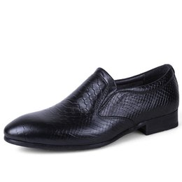 Wholesale Natures Shoes - Size 37-50 New 2017 Nature Leather Men Dress Shoes Men'S Flats Formal Business Shoes Wedding Dresses Shoes Height Increasing D50
