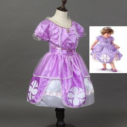 Wholesale Princess Sofia Ribbon - Baby girls sofia Princess dresses clothes cartoon skirt girl cosplay costume children cosplay clothing DHL free CSZ010