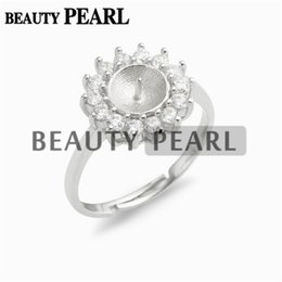 Wholesale Base Blank - 5 Pieces Pearl Settings Ring Mount Findings 925 Sterling Silver Cubic Zirconia Surrounded Ring Blank Base