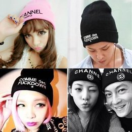Wholesale Channel Hats - New 2016 Winter Women GD CHANNEL ZERO Harajuku Knitted Hat Fashion Korean Warm Beanie Women Winter Cap For Girls