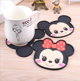 Wholesale Drinking Table - Wholesale- 2pcs set Mickey Mouse dining table placemats coaster coffee drinks kitchen accessories cup bar mug placemats coaster mats pads