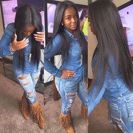 Wholesale Natural Fiber Baby - Natural Black Lace Front Wigs Long Straight Heat Resistant Fiber Synthetic Lace Front Wigs With Baby Hair Medium Parting Wig For Black Women