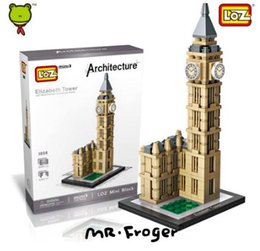 Wholesale Mini Architecture - LOZ Elizabeth Tower Mini Block Architecture Big Ben Model Clock Tower Building Block Educational Toys For Children