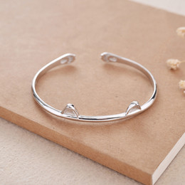 Wholesale Adjustable 925 Bracelet - 925 Sterling Silver Pretty cat bracelet Adjustable Fine Jewelry open cuff Bangles for women valentine birthday gift