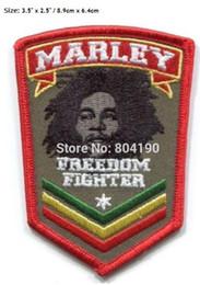 """Gestickte patch-logos online-3,5 """"BOB MARLEY Freiheitskämpfer Reggae Rasta Patches Kleidung Heavy Metal Musik PUNK Rock Band LOGO bestickt IRON ON Applique"""