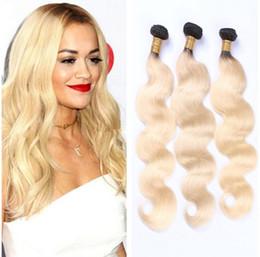 Wholesale T 28 - 3 Bundles Deals Color T 1B 613 Blonde Virgin Hair Body Wave Ombre Black Blonde Peruvian Indian Hair Weave Bundle