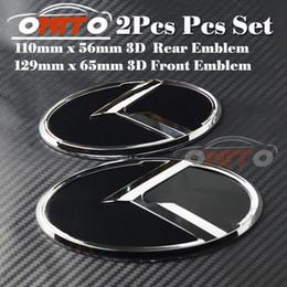 Wholesale k5 optima - 2pcs lot Head Bonnet Label Cover for KIA OPTIMA K2 K3 K4 K5 sorento car Tail boot 3D sticker Rear Logo Front Hood Car Emblem car styling