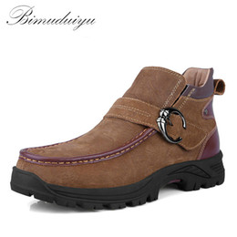 Wholesale Resistance Ankle Strap - Wholesale- BIMUDUIYU Brand Winter Warm Genuine Leather Men's Snow Boots Fashion Ankle Boots Plush Furry Hiking Shoe Casual Skid Resistance