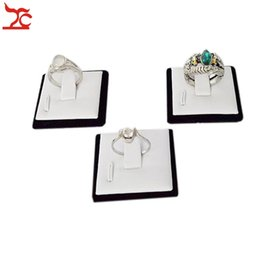 Wholesale Engagement Ring Holders - Wholesale 100 Pcs Small Jewelry Ring Display Sheet white PU and Black Velvet Engagement Wedding Rings Holder Organizer Stand Jewelry Box