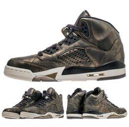 Wholesale Shoe Air Camo - 2018 Air Retro 5 Man Basketball Shoes Premium Heiress Metallic Field camo top quality Retro 5s Mens womens sport Trainer Sneakers eur 36-47