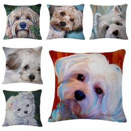 Wholesale Black Fabric Chair - kawaii poodle throw pillow case for sofa chair couch cute schnauzer cushion cover 45cm linen fabric bulldog almofada cojines