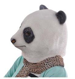 Wholesale Panda Costumes For Adults - Halloween Cute Panda Head Latex Mask Chinese Giant Panda Rubber Animal Masks Carnival Costume Masquerade Cosplay Party Props