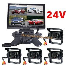 Wholesale Truck Reversing Camera 24v - 7 inch TFT LCD 4CH Video Quad Split Car Monitor + 4 x 18 IR LED reverse Camera 24V Rear view Kit For Truck Bus Caravan