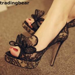 Wholesale Ladies Designer Black Lace Dress - Fashion Ladies Pumps Elegant Bowtie black Lace High Heels Peep Toe Designer Shoes Size 34 to 39