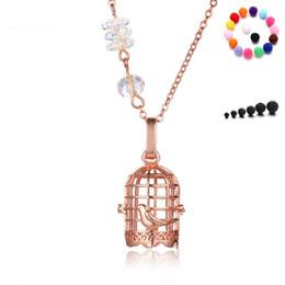Conjuntos de oro 18k online-18K Rose Gold Crystal Bird Cage colgante collar Locket intercambiable con 1 unids piedra volcánica y 5 unids bolas de algodón Difusor de la joyería