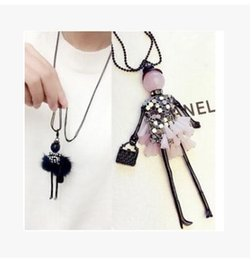 Wholesale Crystal Doll Necklace - 2017 News Handmade Dress Crystal Piece Sequins Girl Doll Pendants Long Necklace Sweater Chain collier Women Accessories