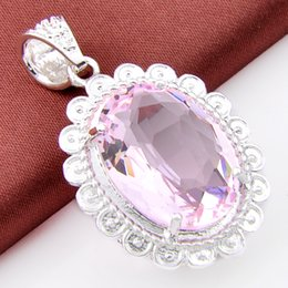 Wholesale Sterling Silver Charms Wholesale Usa - Best Wholesle 5 Pieces Delicat Oval Shiny pink crystal Crystal Gems 925 Sterling Silver USA Israel Wedding Engagement Pendants Weddings
