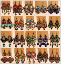 Wholesale Vintage Pink Earrings - Vintage Dangle Earrings Womens Bohemian Mixed Styles Retro National Style Retail Choice Hanging Earring Hook Earrings