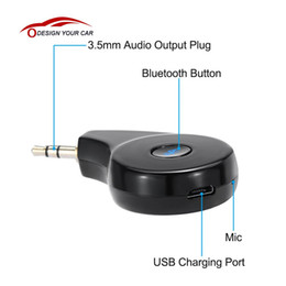 Wholesale Bluetooth Audio Plug - Wholesale-KKmoon Car Bluetooth 4.2 Audio Receiver Wireless Music Playing Hands Free Phone Call 3.5mm Plug for iPhone Galaxy