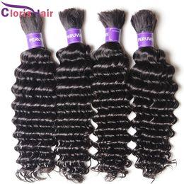 Wholesale Cheap Human Curly Weave - Top Deep Wave Brazilian Hair Weave in Bulk No Attachment Cheap Curly Bulk Human Hair Extension Wefts For Braiding 3 Bundles Deal