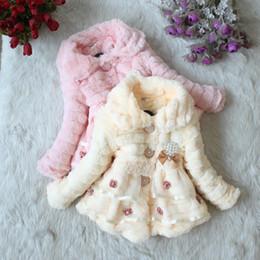 cachemira de peles Desconto Grossas bebê menina parkas casaco bow lace faux pele casaco quente para 1-8yrs meninas crianças crianças grossas roupas de inverno outerwear quente