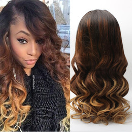 Wholesale Loose Wavy Ombre Hair - 3 tone Human Hair Wavy Body Lace Front Wig African American Ombre Human Hair Lace Front Wig Glueless Long Natural Full lace wig
