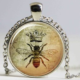 Wholesale Bee Link - Queen Bee Necklace, Royal Crown Insect Art Pendant, Bee Jewelry Glass Cabochon Necklace