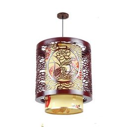 Wholesale Chinese Style Pendant Lights - Classic Chinese Style Wooden Pendant Lamp Vintage Dining Room Pendant Light Tea House Hallway Balcony Hanging Lamps LLFA