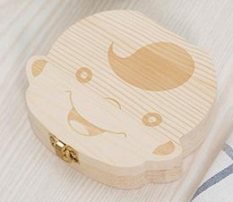 Wholesale Baby Wood - Wholesale-Tooth Box for Baby Save Milk Teeth Boys Girls Image Wood Storage Boxes Creative Gift for Kids Travel Kit WD029