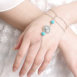 Wholesale Antique Dishes - Wholesale- New Fashion Antique Silver Slave Chains Turquoise Round Flower Dish Bracelets For Women Fine Jewelry Wholesale 8179