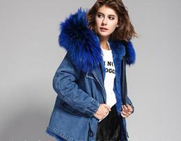 Wholesale Red Rabbit Fur Coat - Women denim jacket MRS FUR COATS rabbit fur Liner Detachable hooded with large raccoon fur collar