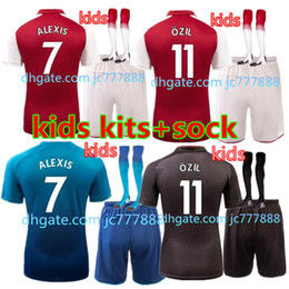 Wholesale Best Youth Jerseys - Best quality 17 18 home soccer jersey kids boy Kits 2017 2018 ALEXIS sanchez GIROUD Lacazette OZIL Walcott away gray football kid youth sets