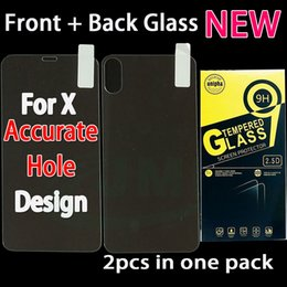 Wholesale Iphone Screen Protector Bag - Front and back Glass For iPhone X 10 8 7 6 Plus Tempered Glass Phone Screen Protector Film in Paper Bag 2pcs in one pack