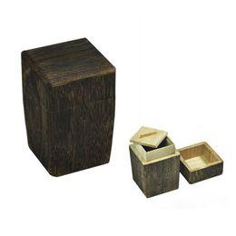 Wholesale Wholesaler Wooden Jewelry Accessories - Vintage Square Wooden Tea Container Kitchen Accessories 7.5*7.5*11.5cm Kung Fu Tea Storage Box Jewelry Case ZA3591