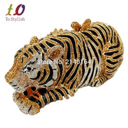 Wholesale Evening Party Elegant Purses - Wholesale- Stylish Animal Tiger Diamond Evening Bag Gold Luxury Diamante Crystal Clutch bag Wedding elegant bride Party banquet Purse 88166