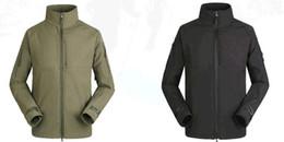Wholesale Cheap Army Coats - High quality Cheap Solid Shark soft shell commander ski-wear, men warm fleece autumn winter leisure mountaineering coat collar
