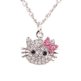 Wholesale Kt Jewelry - 2016 New Arrival Fashion Crystal Cat Rhinestone Hello Kitty necklace Bowknot KT Jewelry For Girls Necklace free shipping