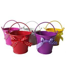 Wholesale Mini Pails Wedding - D6*H5cm Colorful Mini butterfly buckets mini small pail tin pots candy box Wedding Buckets Mixed 5 Colors