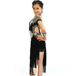 Wholesale Latin Performance Wear - 2016 Girl Kids Latin Dance Dress 3pcs Beading Top Tassel Skirt Performance Training Latin Dance Wear Vestido Franja Leotard DQ4085