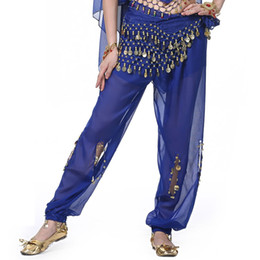 Wholesale Trouser Dress Sequin - Chiffon Belly Dance Costumes 2PCS Pants+Belt Oriental Bloomers Trousers Hip Scarf Indian Dresses Exotic Vestidos 11 Colors