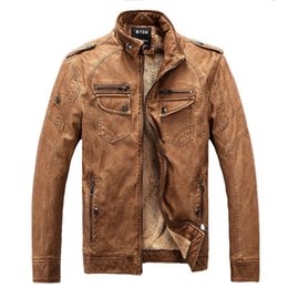 Wholesale Men Brown Leather Jackets - Man Leather Jackets Pu Leather Jaqueta Masculinas Inverno Couro Jacket Men Jaquetas De Couro Men's Winter Leather Jacket