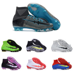Wholesale Cheap Soft Elastic - 2017 Cheap Outdoor Soccer Shoes Mercurial Superfly V FG High Ankle Football Boots Acc Waterproof Soccer Cleats 100% Original Size 39-45