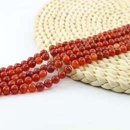 Wholesale Crystal Gemstone Loose Beads - Red Stripe Agate Natural Gemstone Loose Beads 4 6 8 10mm Round Crystal Energy Stone for Jewelry Making Full Strand 15'' L0098#
