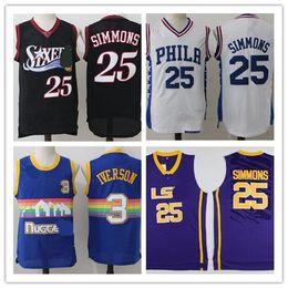 Wholesale Iverson Jerseys - Philadelphia of Men Allen 3 Iverson Denver ,high school University Ben 25 Simmons Basketball Jerseys white blue gules gray
