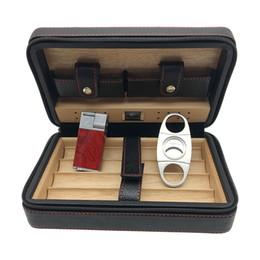 Wholesale Lighter Cigar Cutter - free shipping Cigar Humidor Leather Cedar Lined Cigar Case COHIBA Cigarette Humidor with Cutter and Lighter