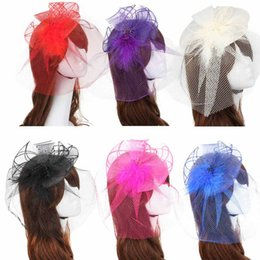 Wholesale Western Hair Headbands - Fabulous 10pcs western style Veil Feather Hard Yarn Women headwear Brides Hair Accessories wedding hats and fascinators