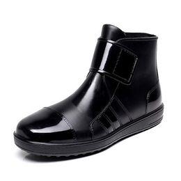 Wholesale Ankle Water Shoes - Wholesale-Pvc waterproof rain boots waterproof flat with shoes woman men rain woman water rubber ankle boots buckle botas 24.5-27cm foot