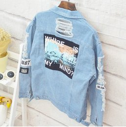 Wholesale Japanese Letters Hip Hop - Sell well kanye west Japanese winter hip hop wind vetements beggars hole letter stickers denim jacket men and women jeans
